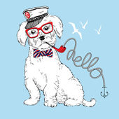 Hand drawn illustration of doggy captain — Stock Vector