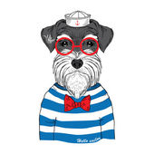 Hand drawn illustration of schnauzer sailor — Stock Vector