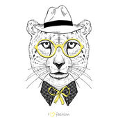 Hand drawn portrait of cheetah boy hipster — Stock Vector