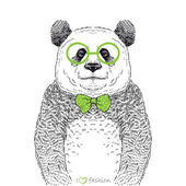 рука рисованные иллюстрации битник панда — Cтоковый вектор