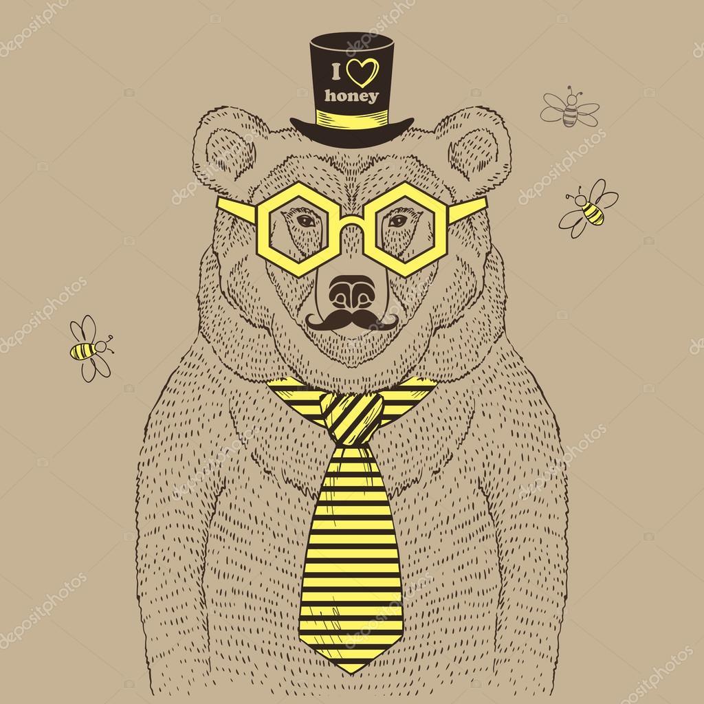 Hand drawn illustration of Honey Bear Illustration