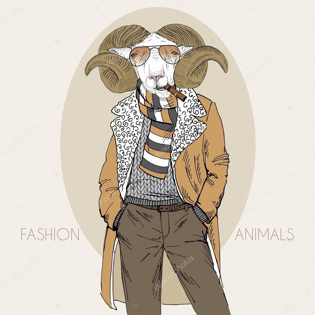 Hand getekend mode illustratie van aangeklede schapenvlees ...