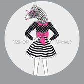 Dressed up zebra girl in colors — Stock Vector