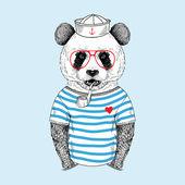 Panda sailor with pipe, navy style — 图库矢量图片