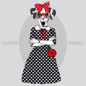 Fashion illustration of cute dalmatian girl — Stock Vector