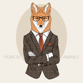 Illustration of fox in office suit — Stock Vector
