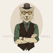 Cheetah hipster in bowler hat — Stock Vector