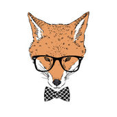 Fashion portrait of fox hipster — Stock Vector