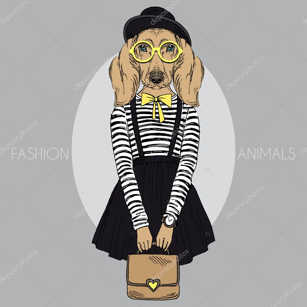 Teckel meisje hipster — Stockvector © olga.angelloz #43039565