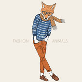 Illustration of fashion fox boy — Vetorial Stock