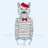 Cat dressed up in french style — ストックベクタ