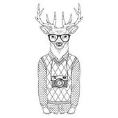 Dressed up deer hipster — Wektor stockowy