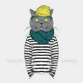 Fashion anthropomorphic character of cat — Vector de stock