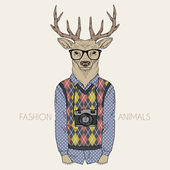 Dressed up deer hipster — Stock Vector