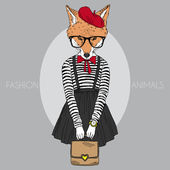 Dressed up foxy girl — Stock Vector