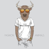 Bull dressed up in t-shirt — Vector de stock