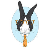 Geek bunny in tie — Vector de stock