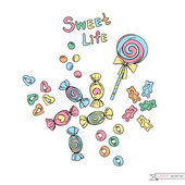 Cute doodle candy set — Wektor stockowy