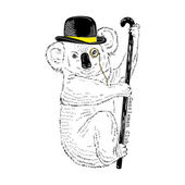Koala in bowler hat and walking stick — Stock Vector