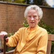 Stock Photo: Happy oldere womwith walking stick sitting outdoors