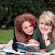 Female late teens learn together — Stock Photo