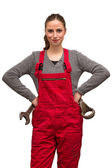Girl worker with wrench — Stock Photo