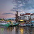 Prague,evening,Vitava river,panorama,cityscape — Stock Photo