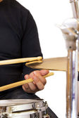The drummer in action — Stock Photo