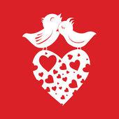 Lover Birds On Heart — Stock Vector