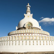 Buddhist temple Shanti Stupa on a hilltop in Leh, Ladakh. — Stock Photo
