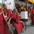 Buddhist monks take part at 4-days puja ceremony in Leh, Ladakh, India. — Stock Photo