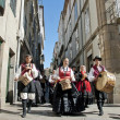 Galician musicians  march on Santiago's street in honor of Saint James Day on July 25, 2010. — Stock Photo
