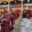 Buddhist monks take part at puja ceremony in Leh, Ladakh, India. — Stock Photo