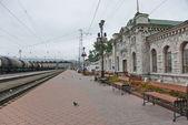 Marble building of the Sludyanka railway station in Siberia, Russia. — Stock Photo