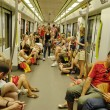 Spanish fans ride subway to see TV translation of final match of World Cup 2010 at stadium in Valencia. — Stock Photo #32690861