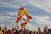Spanish flags flutter above a stadium in Valencia, Spain. — Stock Photo