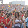 Spanish fans gather on a stadium in Valencia, Spain. — Foto de Stock