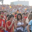 Spanish fans gather on a stadium in Valencia, Spain. — Stok fotoğraf