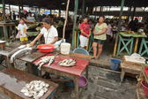 Fish stalls at the market in Iquitos, Amazon Peru. — Stock Photo