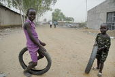 African kids play on a street in Juba, South Sudan. — Stock Photo