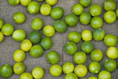Limes on a market stall in Varanasi, India. — Stock Photo