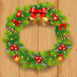 Wreath on the wood — Stock Photo