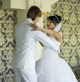 Bride and groom dancing the first dance at their wedding day — Stock Photo