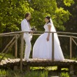 Happy bride and groom on a wooden bridge in the park at the wedd — Stock Photo