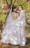 Newlyweds on nature background with blossoming magnolias — Stockfoto