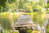 Old broken jetty at the lake — Stock Photo