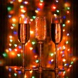 A glass of champagne on the background bokeh — Stock Photo
