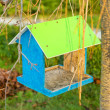 Green wooden bird nest box — Stock Photo