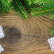 Foto Stock: Christmas. Christmas Decoration and Gift Box Holiday Decorations