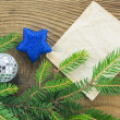 Stok fotoğraf: Christmas Background.Blank Old Paper Sheet with Decoration